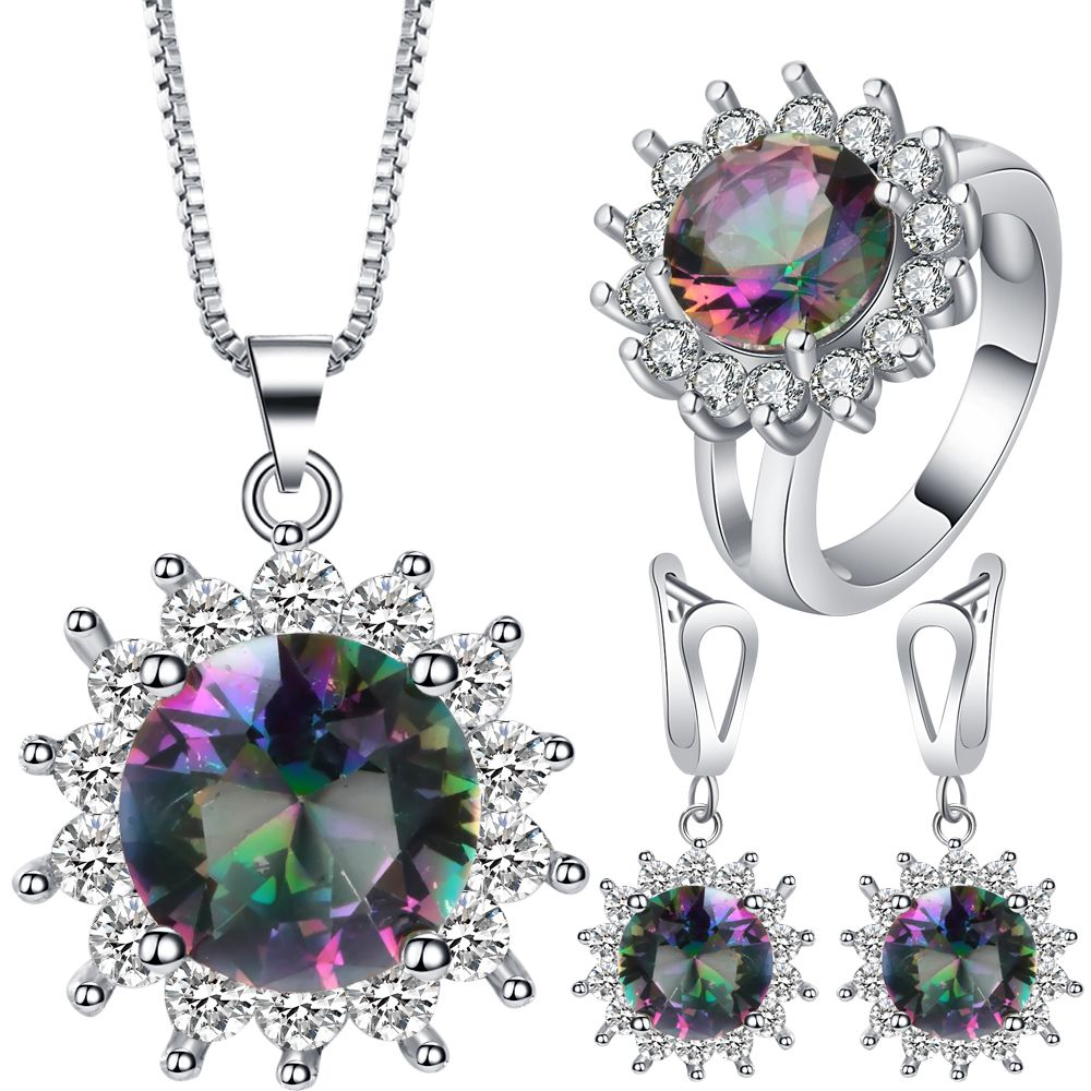 New top white gold color sun flower jewelry set multicolor cubic