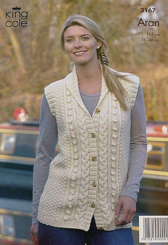 Ladies Aran waistcoat knitting pattern Sleeveless cardigan.