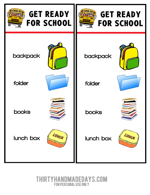 Printable Chart: Get Ready for School