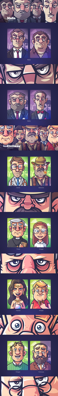 Mafia (party game) on Behance Dibujo grafico