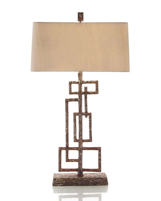 """JOHN RICHARD - JRL-8469   40""""H Geometric Sculpture Table Lamp Shade: (21"""" X 13"""") X (22"""" X 14"""") X 11"""" Oyster Gray One-Way, 60 Watt Max, Type A Bulb S-Socket With Pull Chains Also Available With California Wiring                                              40""""H  Geometric Sculpture Table Lamp  Shade: (21"""" X 13"""") X (22"""" X 14"""") X 11"""" Oyster Gray..."""