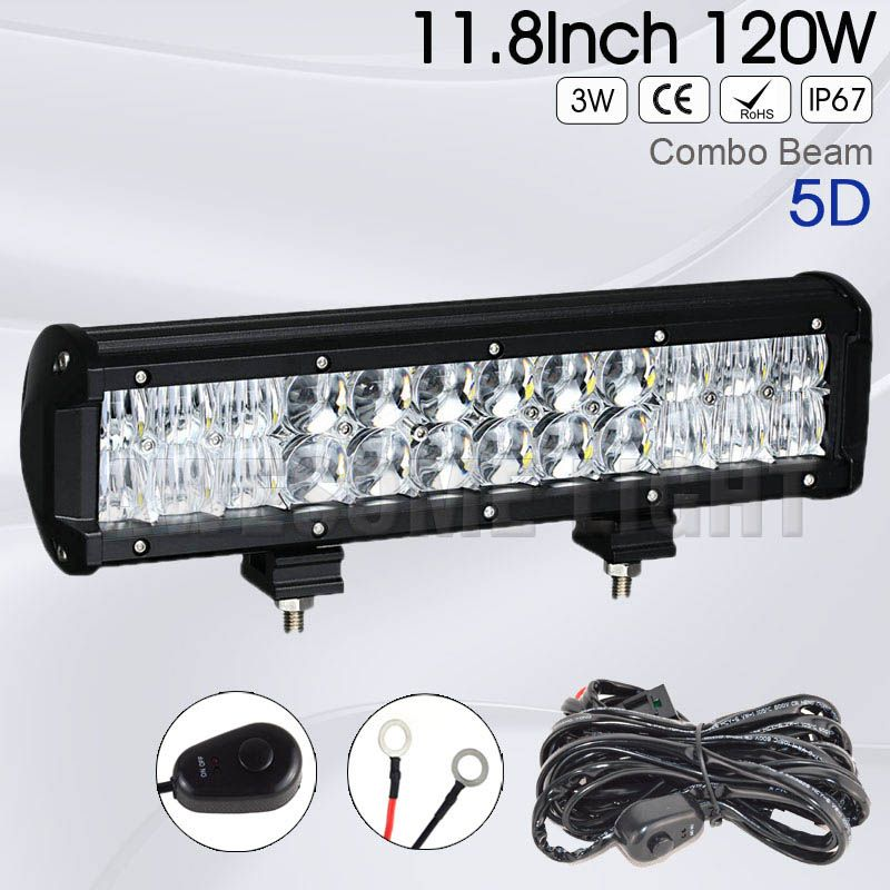 12inch 120w 5d Double Rows 4x4 Car Offroad Led Light Bar Waterproof Combo Beam 12v 24v Auto Working Light Bar For Truck Offroad Led Car Lights Light Bar Truck