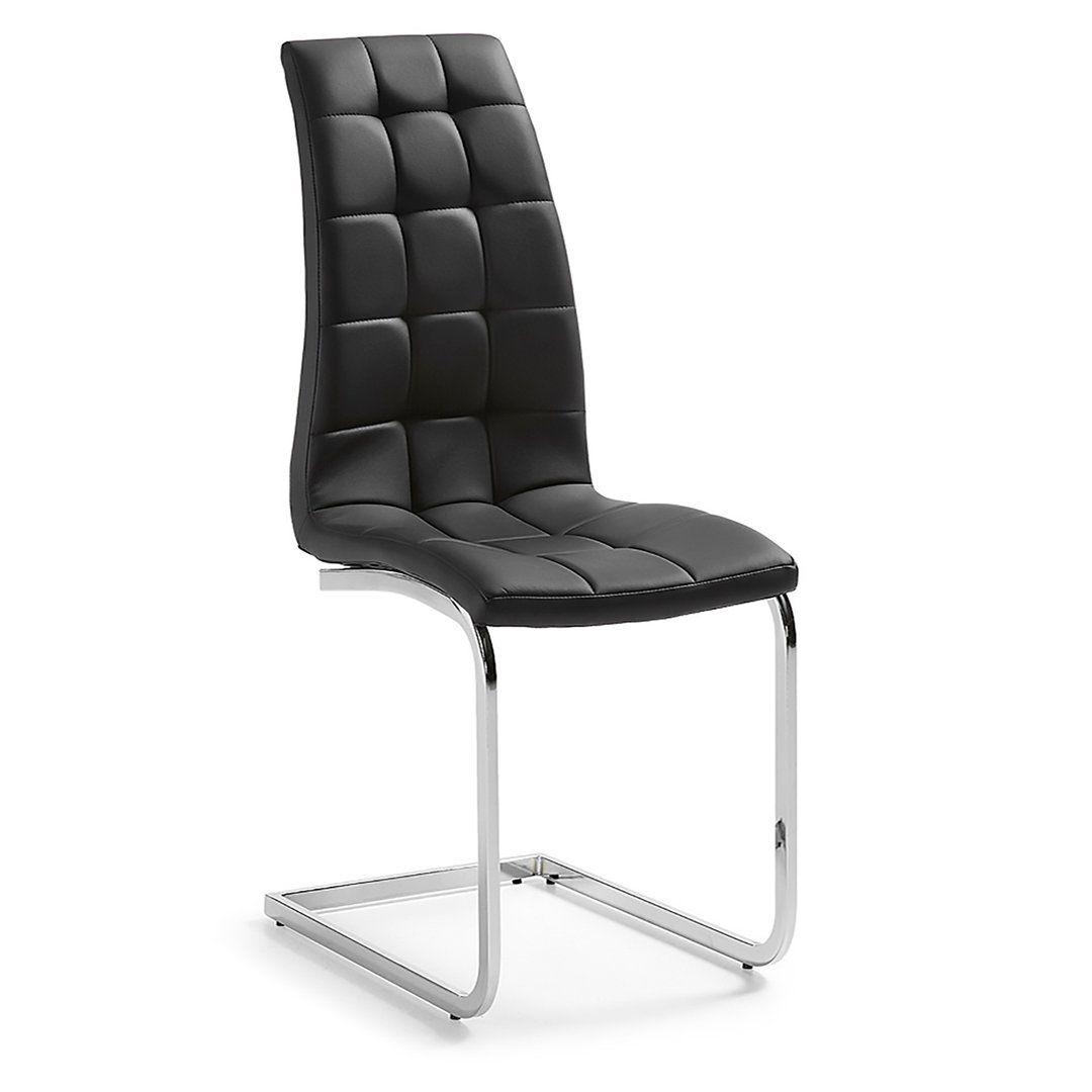 Silla moderna walker polipiel negro sillas de comedor for Sillas comedor modernas polipiel