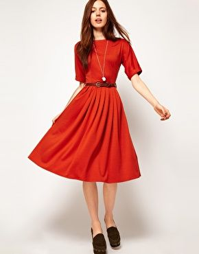 Midi Dress With Full Skirt And Belt | Clothes, Skirts and Fashion