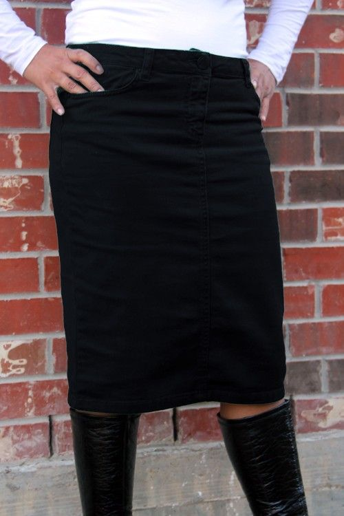 Jade Mackenzie - Black Knee Length Denim Skirt, $45.00 (http://www ...