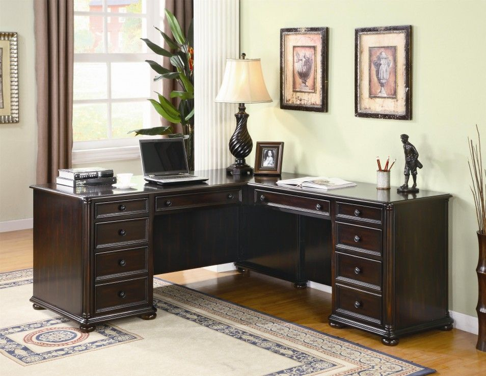 Scotland Home Office L Shape Desk With Storage Drawers In Dark Brown Finish