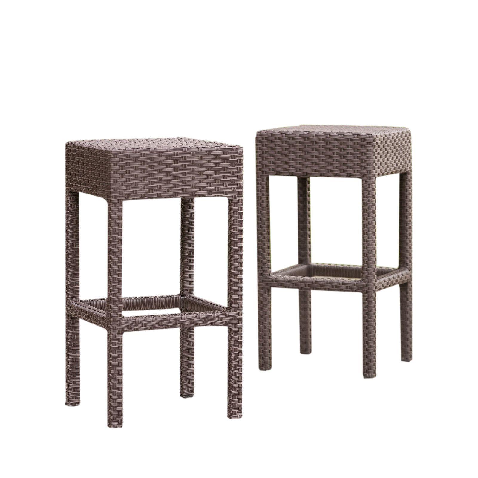 2 Piece Outdoor Patio Wicker Backless Barstool