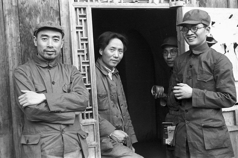 Mao Zedong, Zhou Enlai and Bo Gu at the communist base in Ya'nan during the revolution.