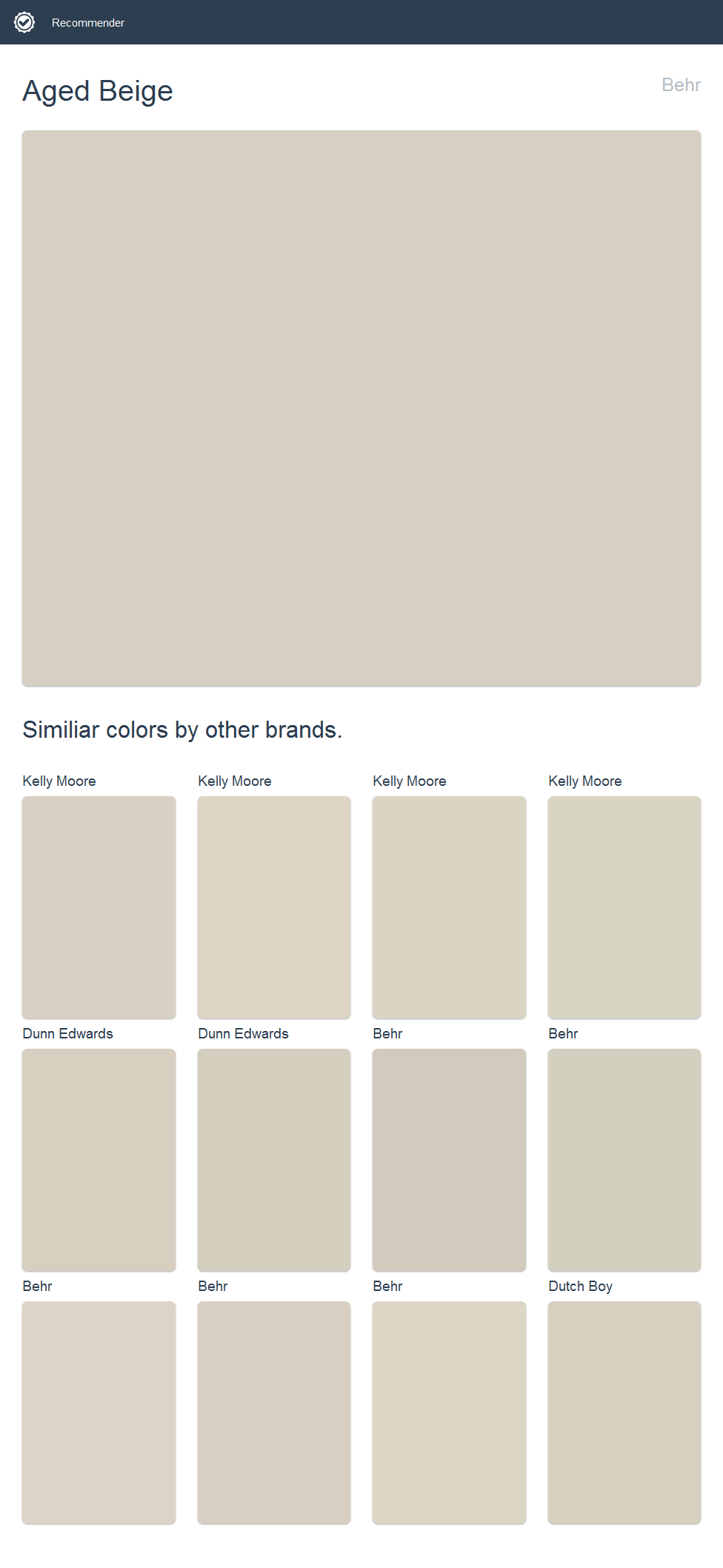 Aged Beige, Behr Click The Image To See Similiar Colors