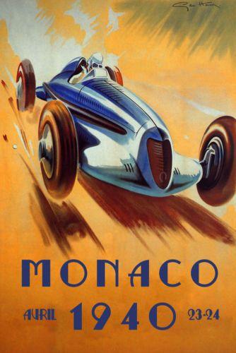 POSTER 1948 MONACO BUGATTI CAR AUTO RACE GRAND PRIX VINTAGE REPRO FREE S//H