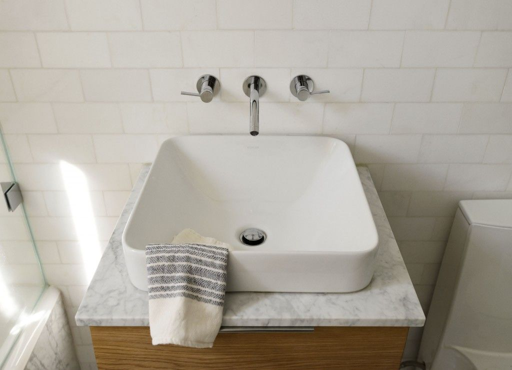 Living Large In 675 Square Feet Brooklyn Edition Square Bathroom Sink Above Counter Bathroom Sink Small Bathroom Vanities