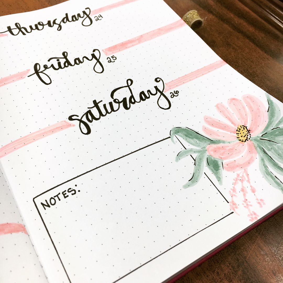 Bullet journal weekly layout, hand lettering, flower