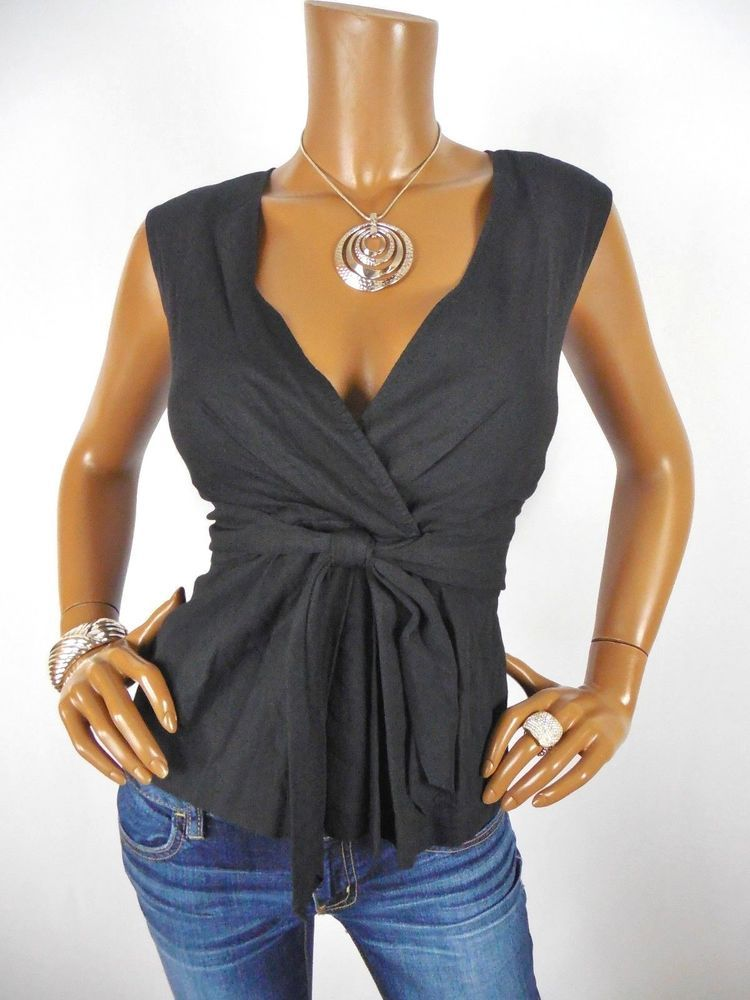 667baeb800 THEORY Womens Top L SEXY Shirt Black Blouse Sleeveless Stretch Linen Tie  Front  Theory  Blouse  Casual