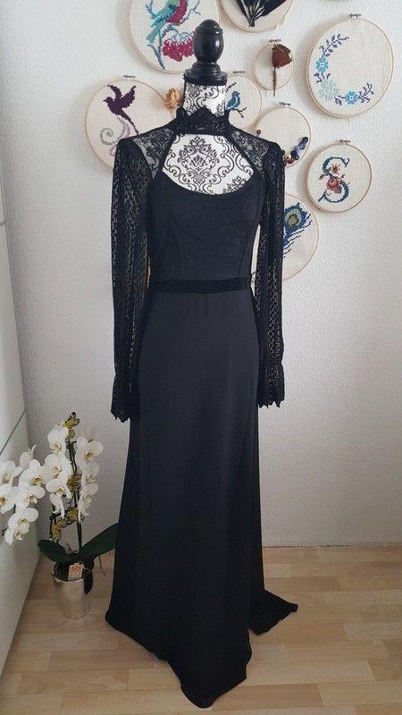 Langarm kleider lang schwarz