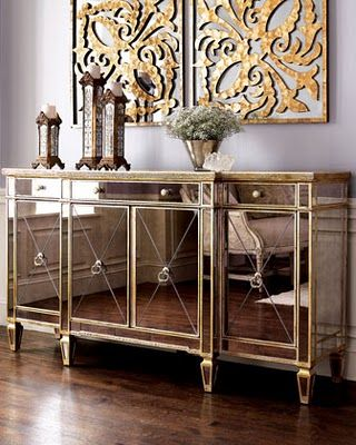 Horchow S Mirrored Buffet Console Cabinet Mirror Sideboard Table