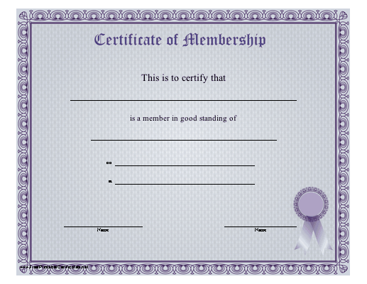 A blue-purple certificate of membership certifying good standing in ...