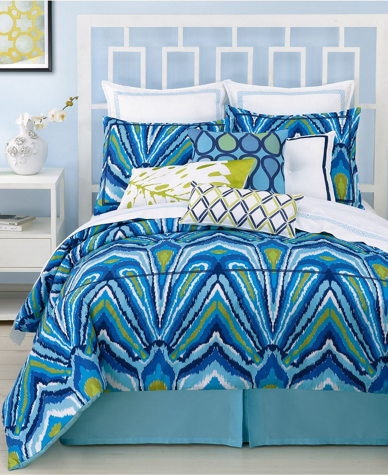 Trina Turk Bedding Blue Peacock Comforter And Duvet Cover Sets