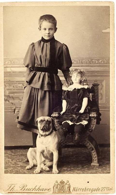 Vintage Youngin Doll N Dog Pugs Vintage Dog Dog Photograph
