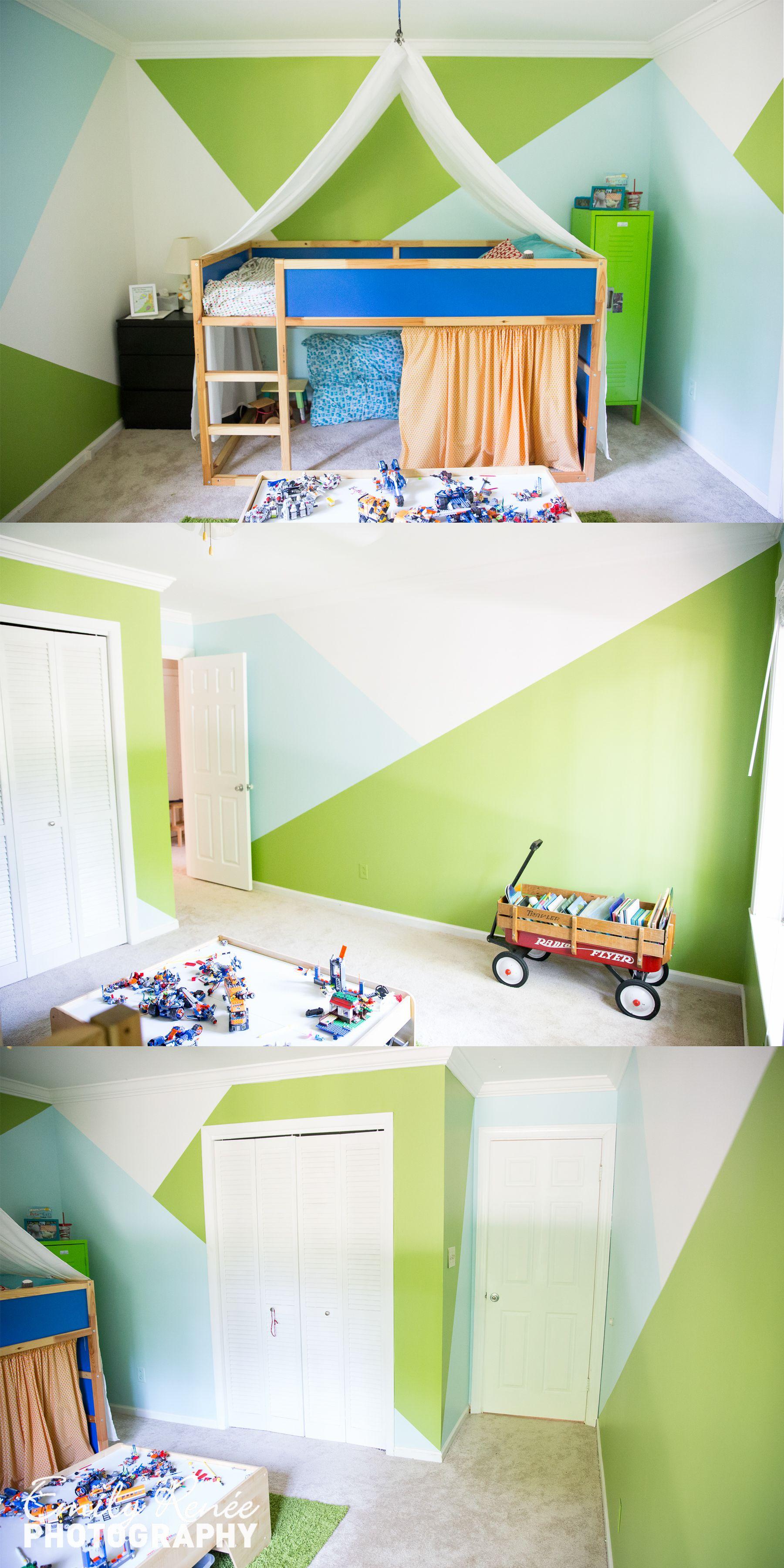 Loft bed with desk blue  Geometric paint kidus room green blue and white room Ikea Kura