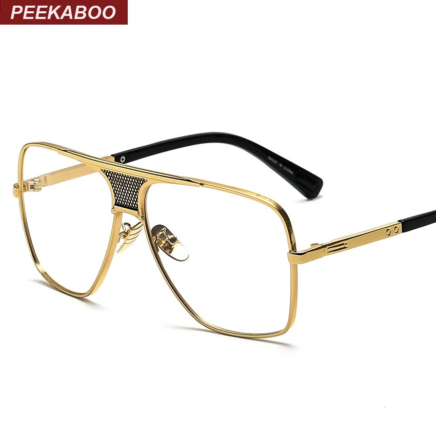 Peekaboo Flat top men glasses frame branded designer big square ...