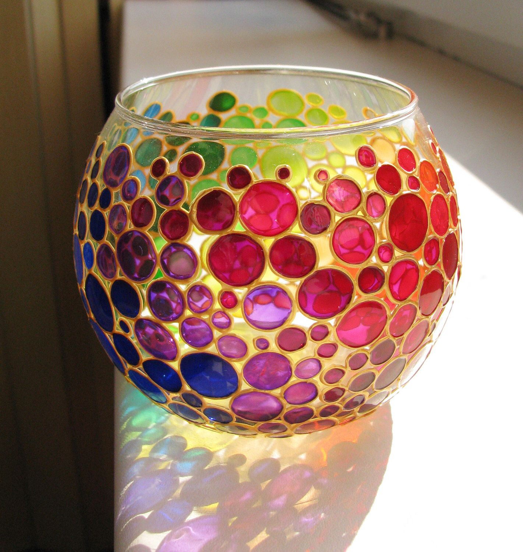 Rainbow candle holder glass vase Bubbles design tea light Painted ...