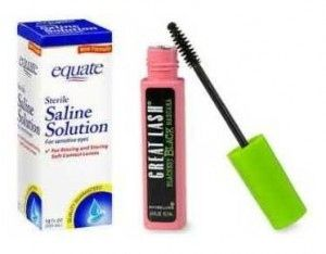 Add saline solution to refresh dried-out mascara.