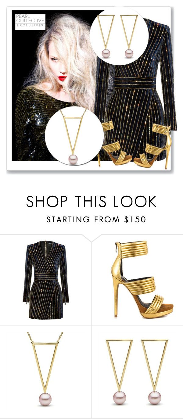 """""""SHOP - Pearl Collective - Necklace & Earrings"""" by pearlcollective ❤ liked on Polyvore featuring Balmain and Mia Limited Edition"""
