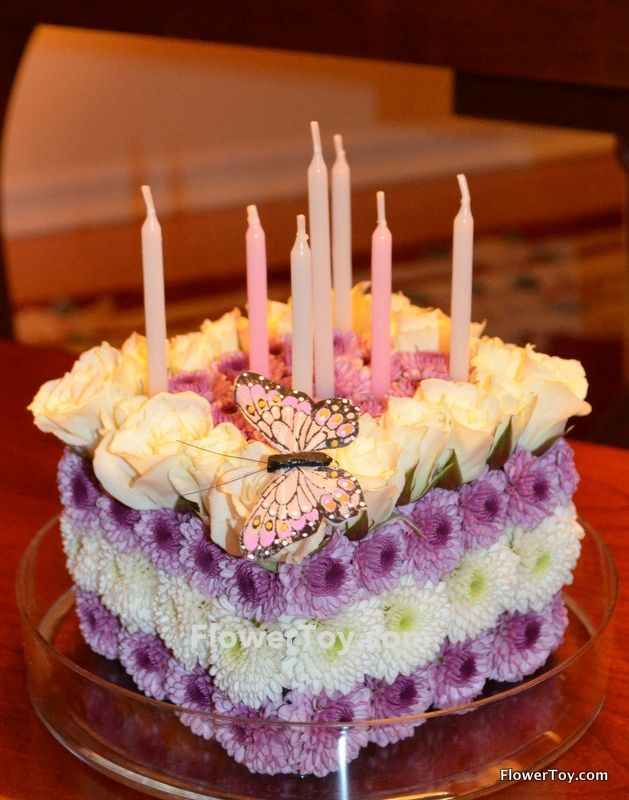 A floral arrangment that looks like a birthday cake I love it