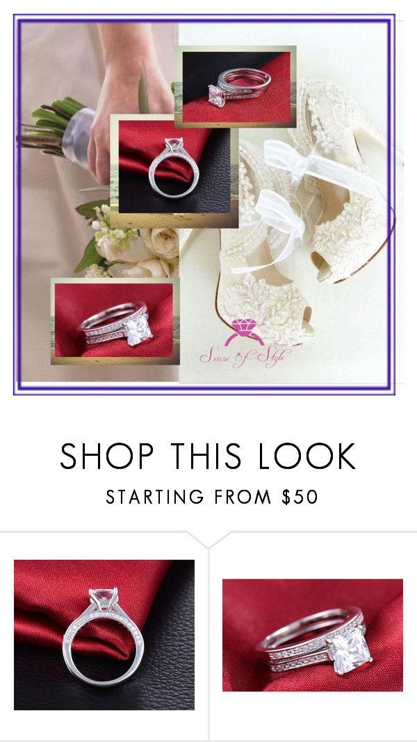 """https://www.etsy.com/listing/288038189/361ct-princess-cut-wedding-ring-set?ref=shop_home_listings"" by lejla150 ❤ liked on Polyvore"