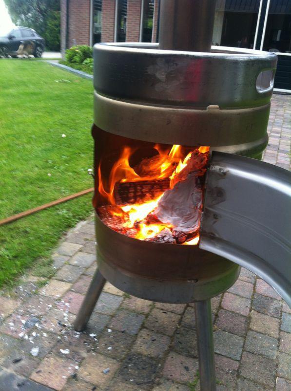beer keg fire pit wood stove stainless steel tig welding backyard stuff pinterest. Black Bedroom Furniture Sets. Home Design Ideas