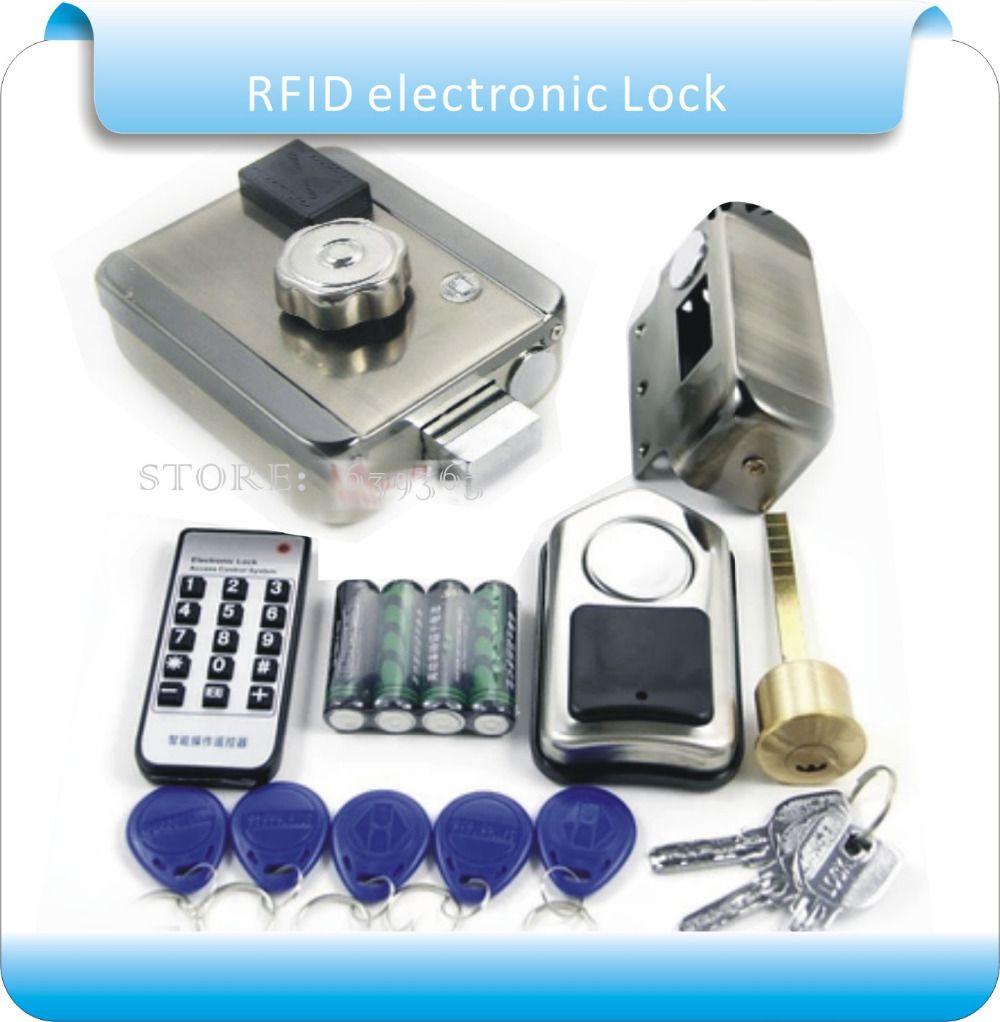 Free Shipping Diy Dry Battery Rfid Exterior Door Locks Smart Electronic Wireless Door Lock With 1 Remote Control Door Lock Security Wireless Door Lock Rfid