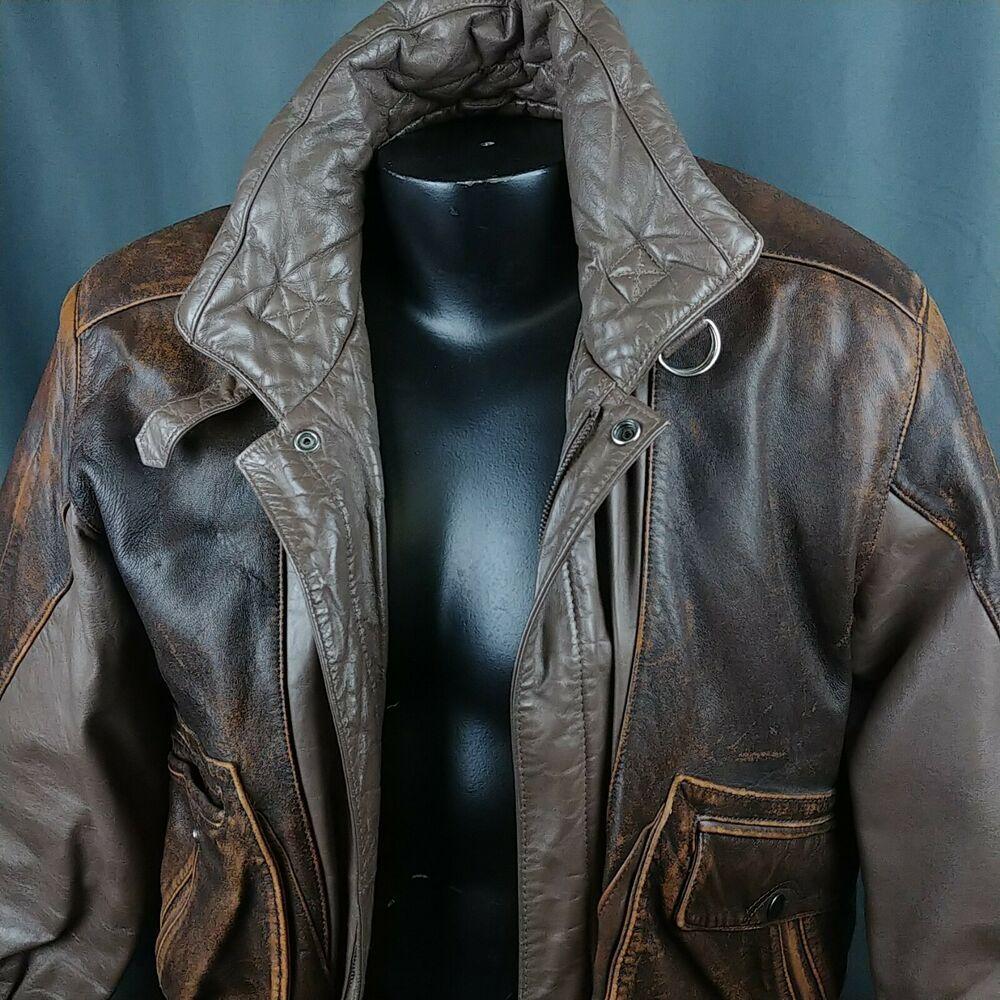 Vtg Leather Bomber Jacket 80s Brown Coat Berman S Unisex Mens Small Bermans Casual Leather Bomber Leather Bomber Jacket Black Leather Coat [ 1000 x 1000 Pixel ]