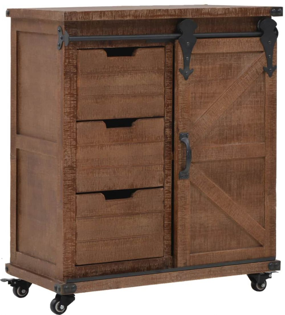 H4home Industrial Style Storage Cabinet Rustic Solid Wood