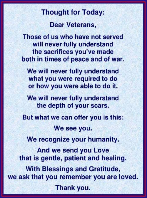 Veterans Day Thoughts Prayers Gratitude Veterans Day