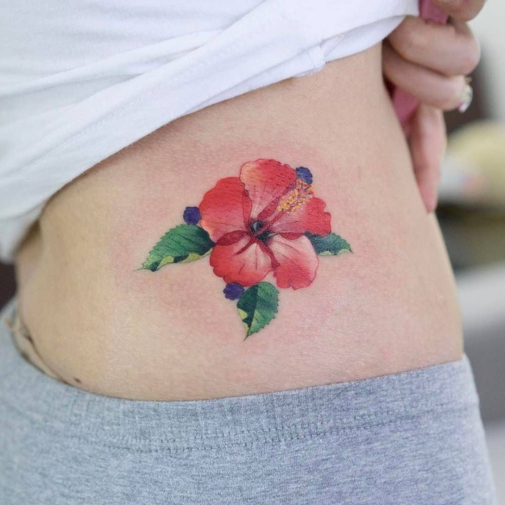 Red Hibiscus Flower Tattoo On The Hip Nature Tattoos Pinterest