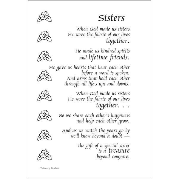 Sisters - Poem For A Page Sticker | Sister poems, Sister ...