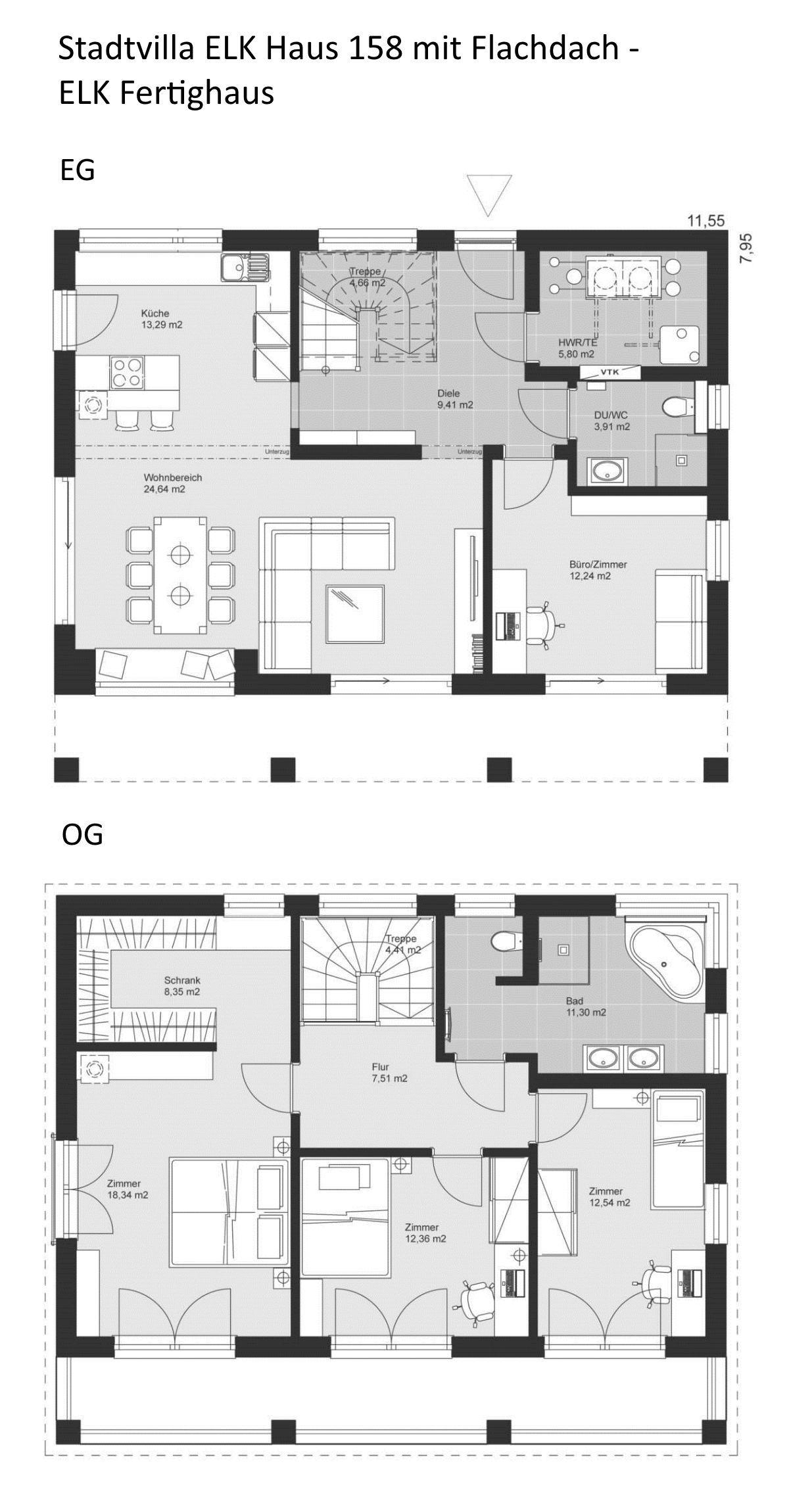Grundriss Bauhaus Stadtvilla modern mit Flachdach
