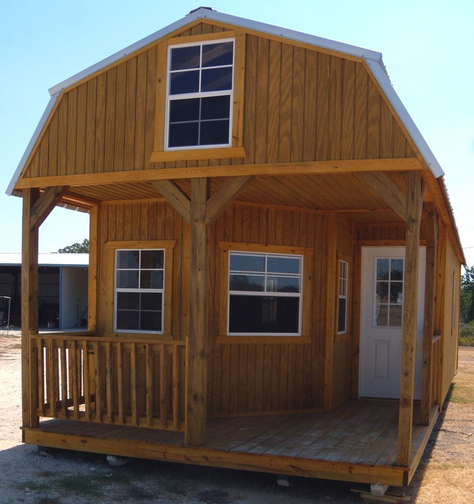 Derksen portable deluxe lofted barn cabin my favorite for Loft cabins