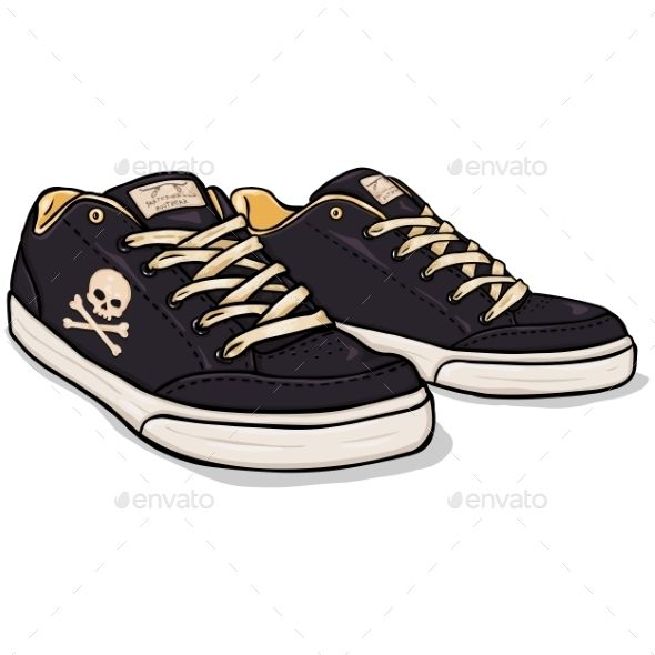 vector cartoon black skaters shoes cartoon breakdance and icons