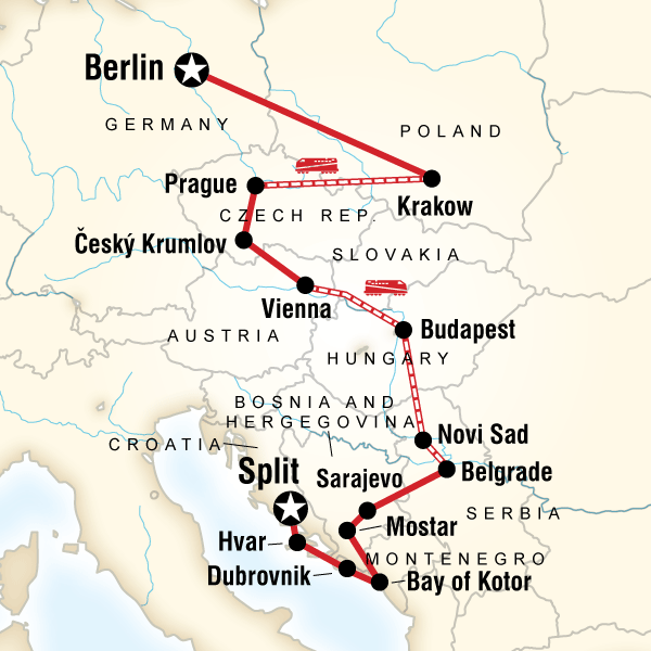 Map Of The Route For Eastern Europe Croatia The Balkans Eastern Europe Travel Eastern Europe Croatia Travel