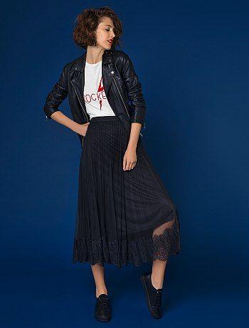 6dfc467ac1 Jupe longue en tulle plissé avec dentelle noir Femme - Kiabi ...