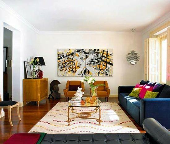 Retro Wohnzimmer Blau Sofa Glastisch