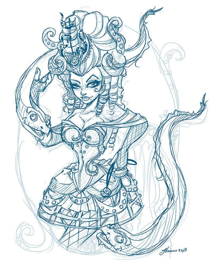 Steampunk Ursula layout Sketch by NoFlutter on DeviantArt | Coloring ...