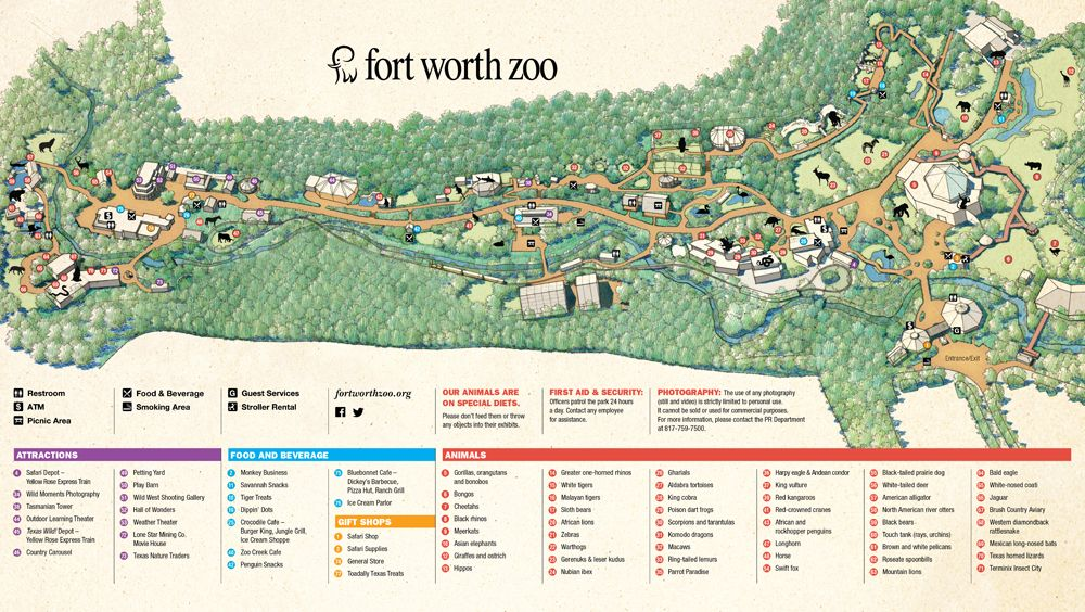 Fort Worth Zoo Map Fort Worth Maps Pinterest Fort Worth - Houston zoo map