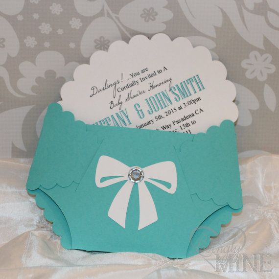 Tiffany Co Inspired Diaper Invitations Set Of By Lovinglymine