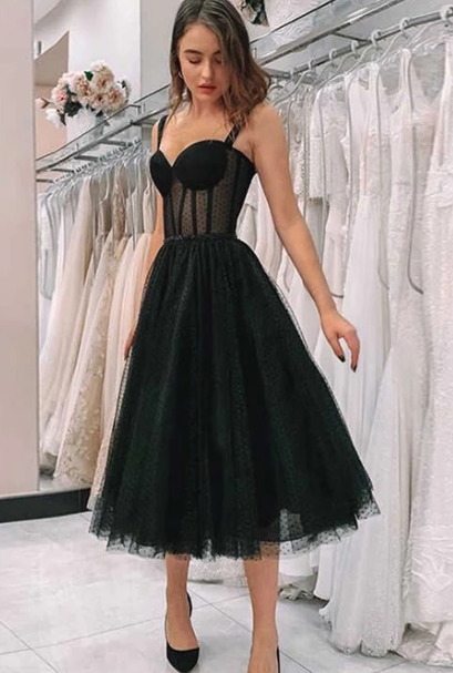Simple black tulle short dress, homecoming dress cg4105