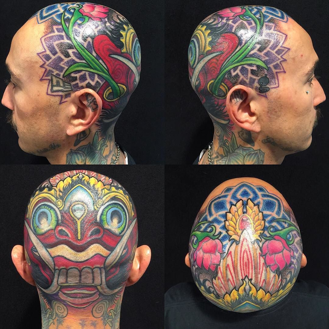 Da Da Danielle Colby Cushman Tattoos - Barong mask head tattoo by champion grubbs guru tattoo san diego ca
