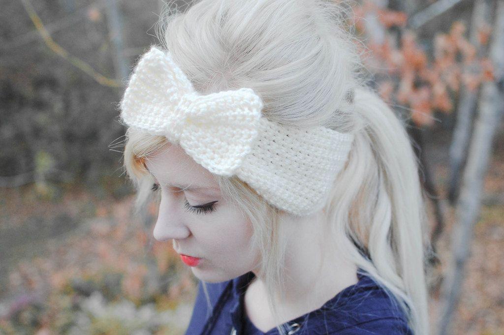 crochet bow headband. $15.00, via Etsy.