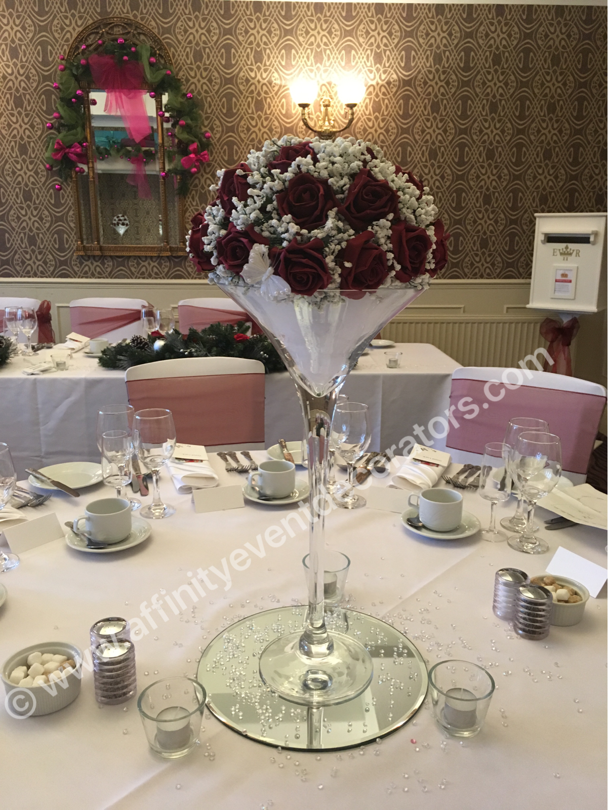 Martini vase centrepiece with red roses and gypsophila wedding martini vase centrepiece with red roses and gypsophila wedding hire in swansea south wales reviewsmspy