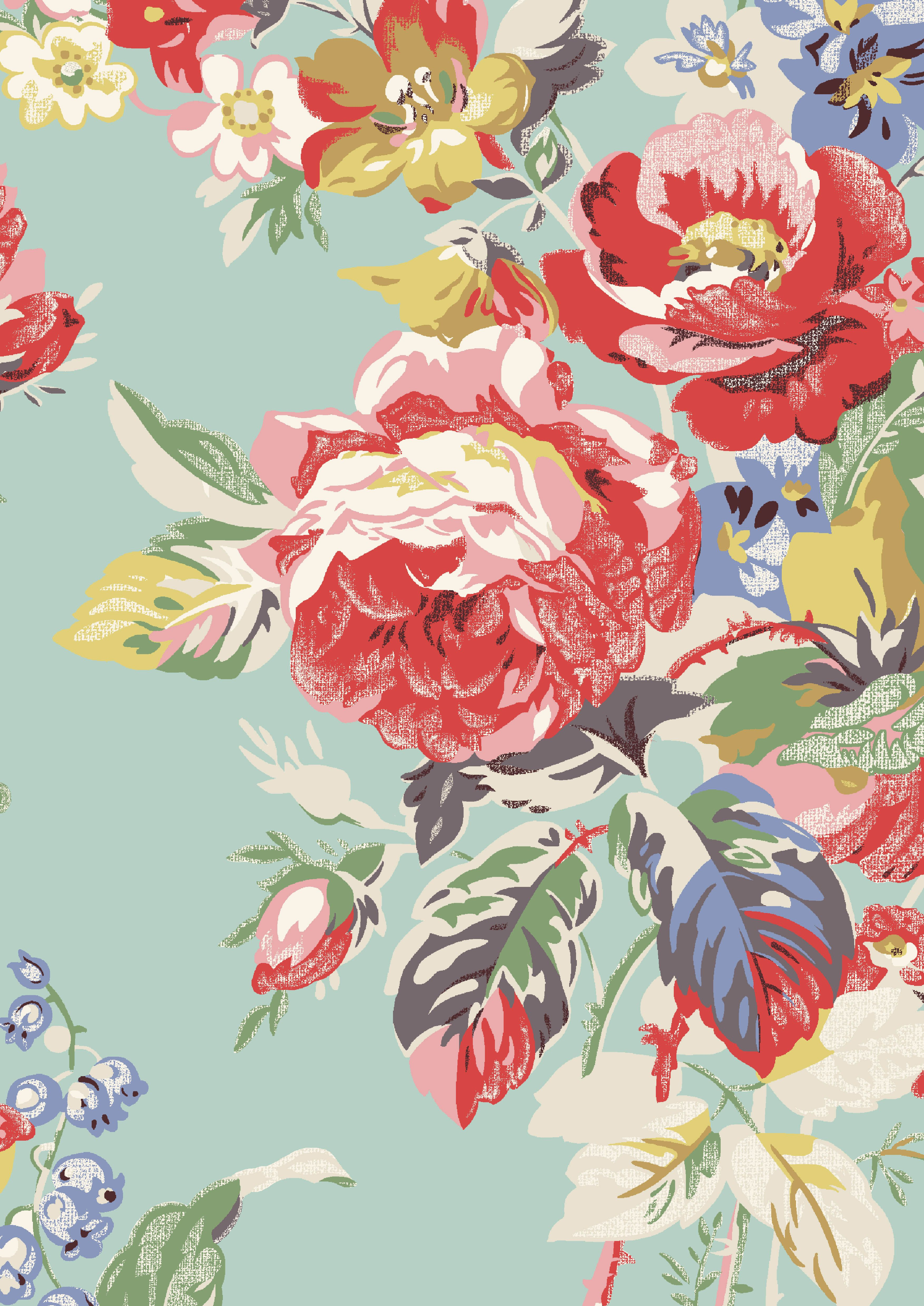 vibrant design modern floral wallpaper. Large Portobello Rose  Vibrant tropical holiday colours complete this full scale fashion floral Cath
